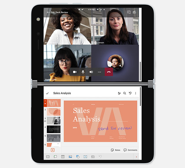 Microsoft Surface Duo video conferencia PowerPoint